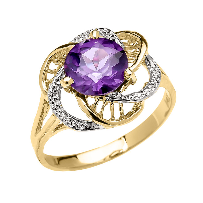 Yellow Gold CZ Alexandrite Solitaire Modern Flower Ladies Ring