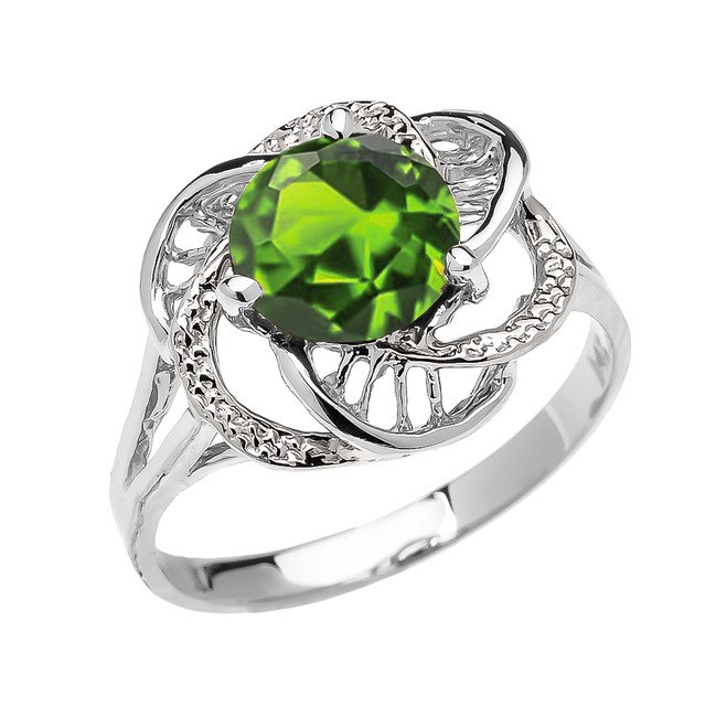 White Gold CZ Peridot Solitaire Modern Flower Ladies Ring