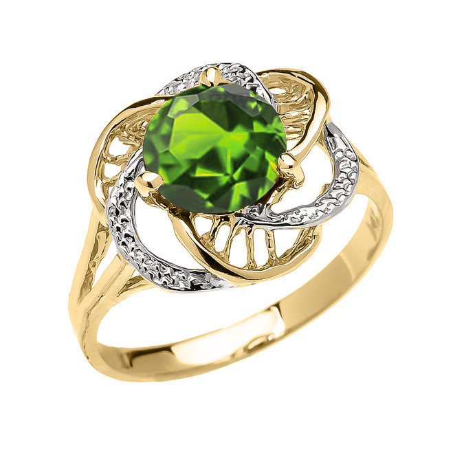 Yellow Gold CZ Peridot Solitaire Modern Flower Ladies Ring