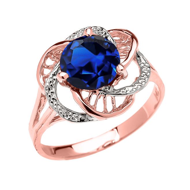 Rose Gold CZ Sapphire Solitaire Modern Flower Ladies Ring