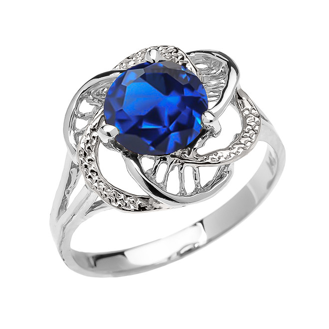 White Gold CZ Sapphire Solitaire Modern Flower Ladies Ring