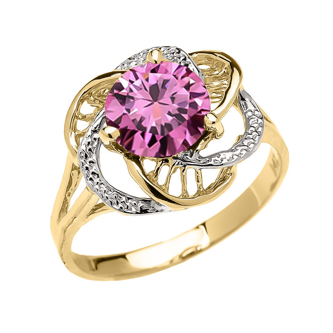 Yellow Gold Pink CZ Solitaire Modern Flower Ladies Ring