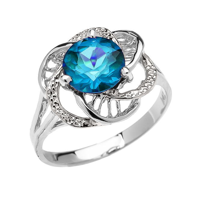 White Gold CZ Blue Topaz Solitaire Modern Flower Ladies Ring