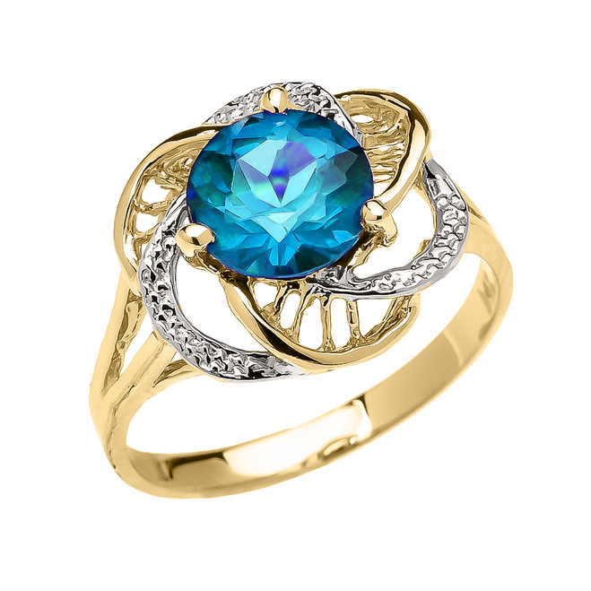 Yellow Gold CZ Blue Topaz Solitaire Modern Flower Ladies Ring