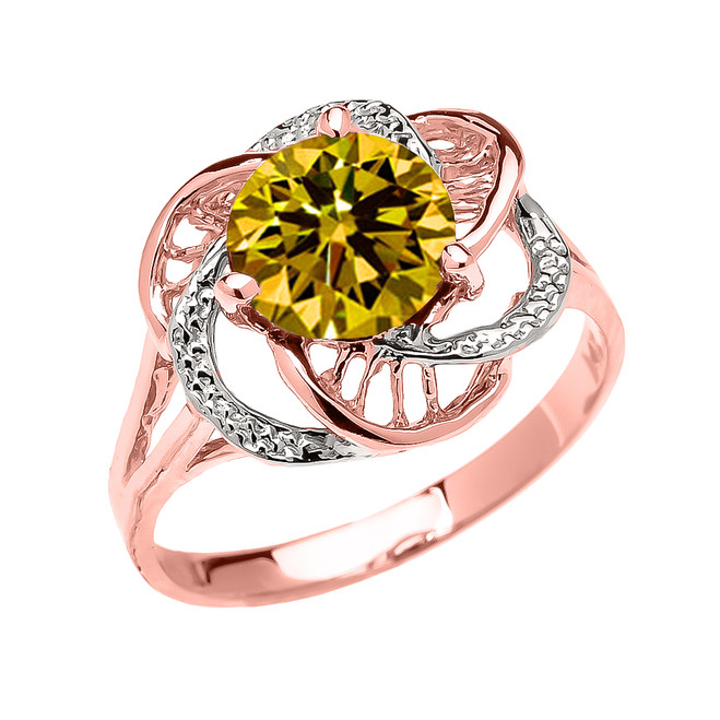 Rose Gold CZ Citrine Solitaire Modern Flower Ladies Ring