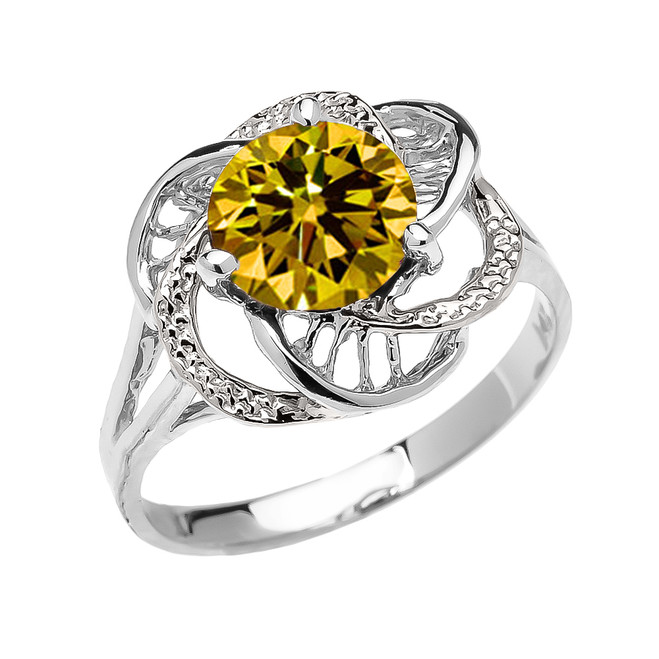White Gold CZ Citrine Solitaire Modern Flower Ladies Ring
