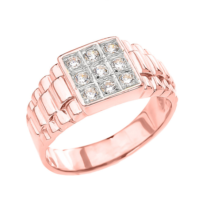 Rose Gold Cubic Zirconia Men's Ring With Watch Band Design