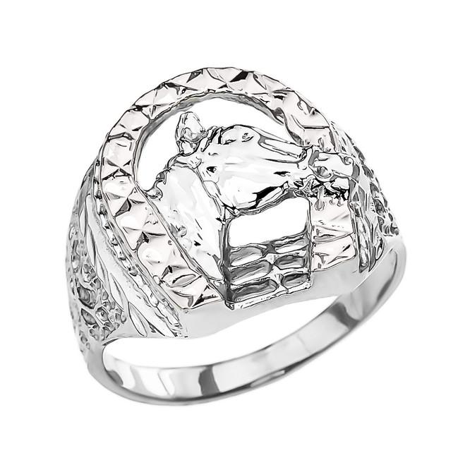 White Gold Horseshoe with Horse Head Ring