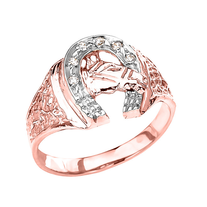 Rose Gold Diamond Horseshoe with Horse Head Ring