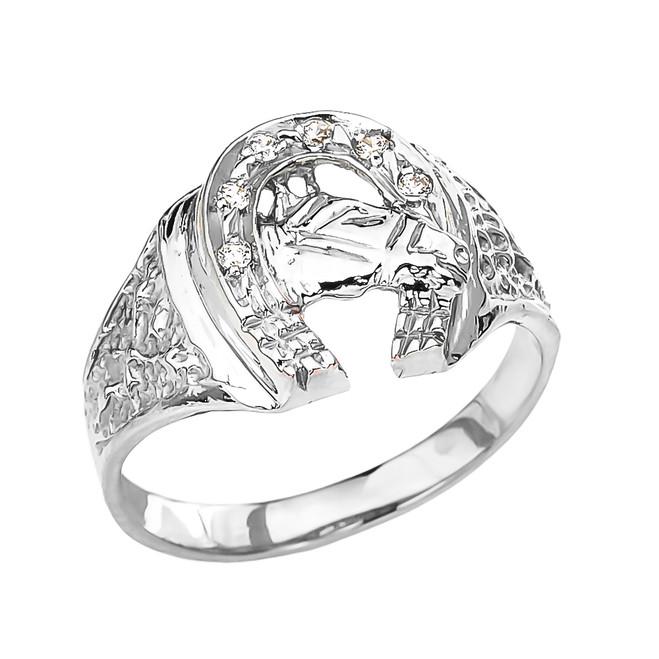 White Gold Diamond Horseshoe with Horse Head Ring