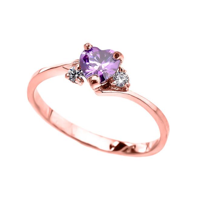 Dainty Rose Gold CZ Alexandrite Heart Promise Ring
