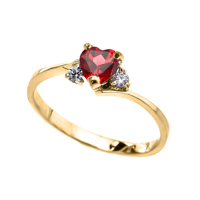 Dainty Yellow Gold (LCR) Ruby Heart Promise Ring