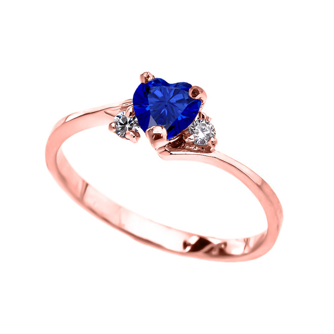 Dainty Rose Gold CZ Sapphire Heart Promise Ring