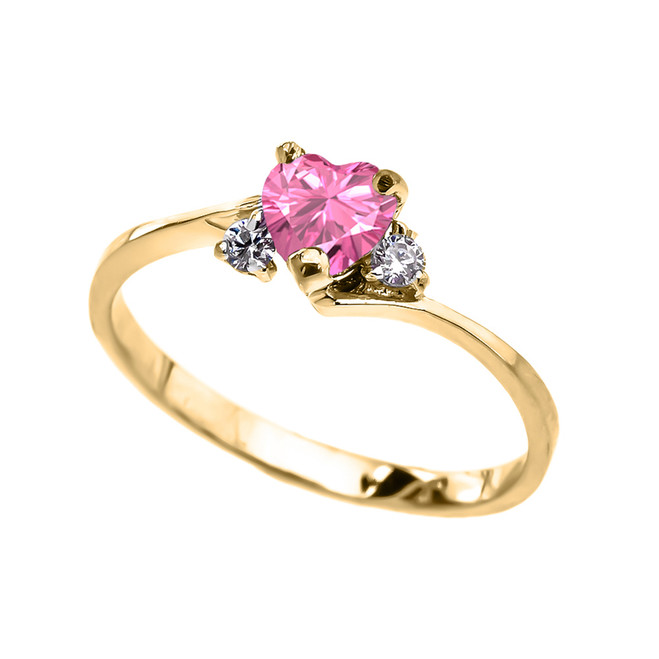 Dainty Yellow Gold Pink CZ Heart Promise Ring