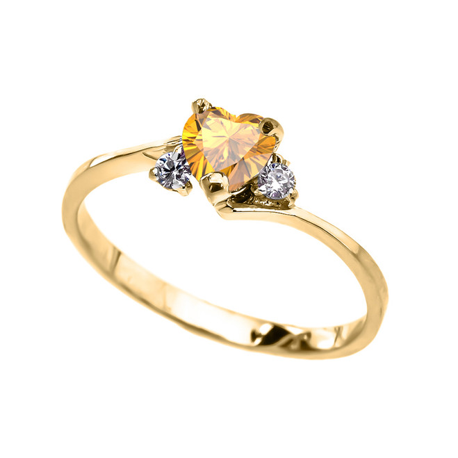Dainty Yellow Gold Citrine CZ Heart Promise Ring