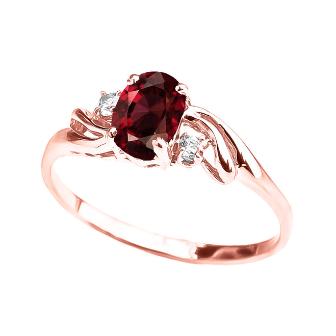 Rose Gold Garnet Oval Solitaire Proposal Ring