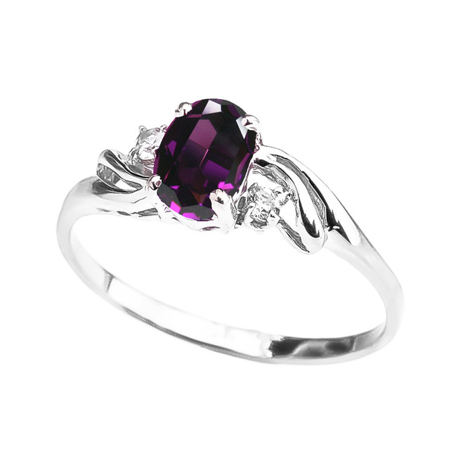 White Gold Amethyst Oval Solitaire Proposal Ring