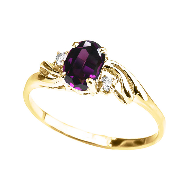Yellow Gold Amethyst Oval Solitaire Proposal Ring