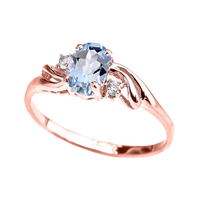Rose Gold Aquamarine Oval Solitaire Proposal Ring
