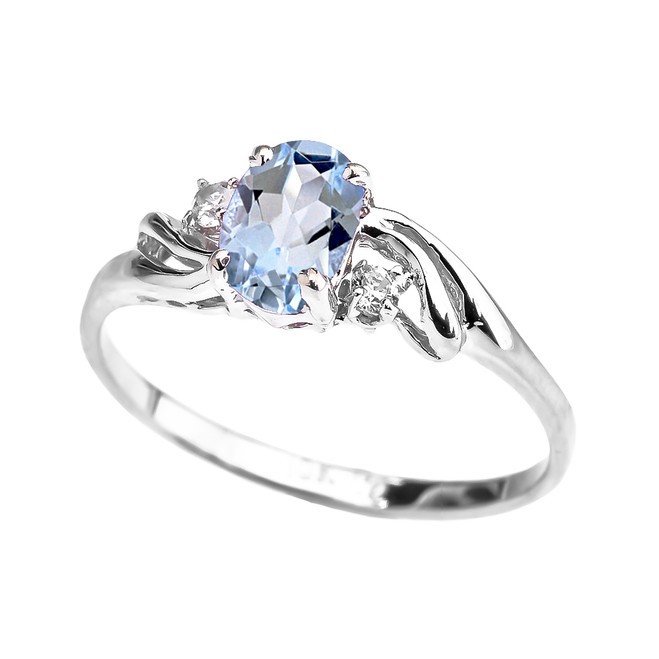 White Gold Aquamarine Oval Solitaire Proposal Ring