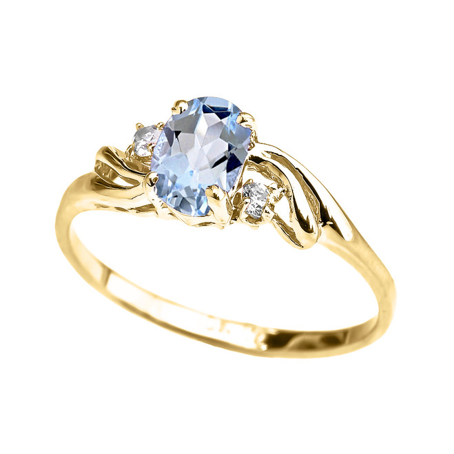 Yellow Gold Aquamarine Oval Solitaire Proposal Ring