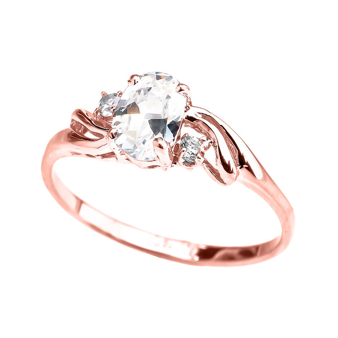 Rose Gold CZ Oval Solitaire Proposal Ring