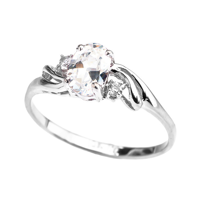 White Gold CZ Oval Solitaire Proposal Ring