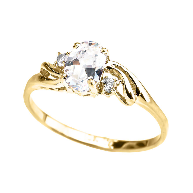 Yellow Gold CZ Oval Solitaire Proposal Ring