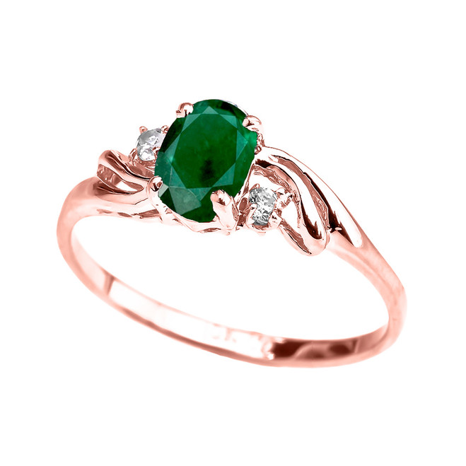 Rose Gold  (LCE) Emerald Oval Solitaire Proposal Ring