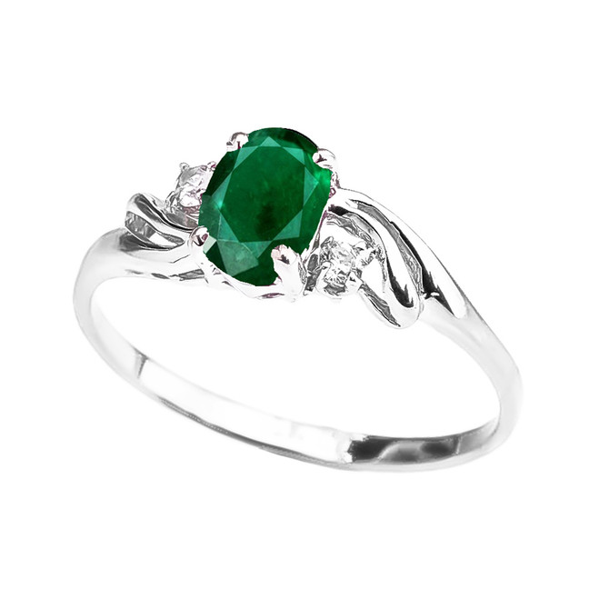 White Gold  (LCE) Emerald Oval Solitaire Proposal Ring