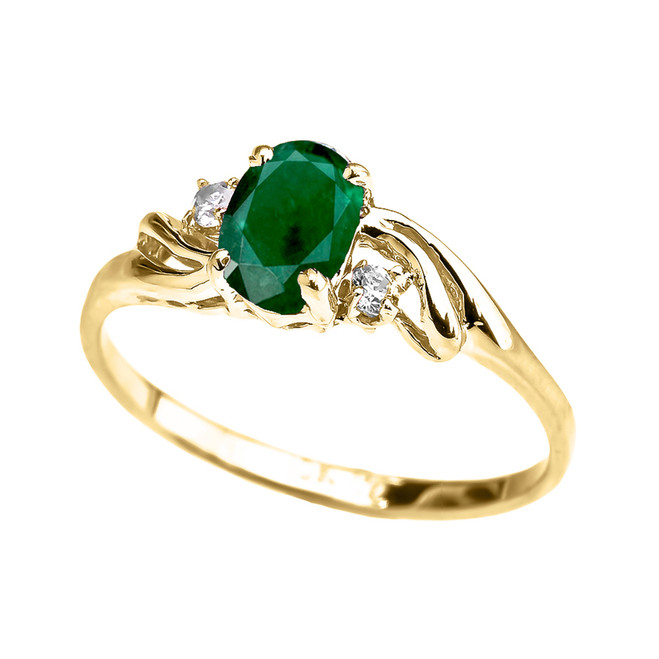 Yellow Gold  (LCE) Emerald Oval Solitaire Proposal Ring