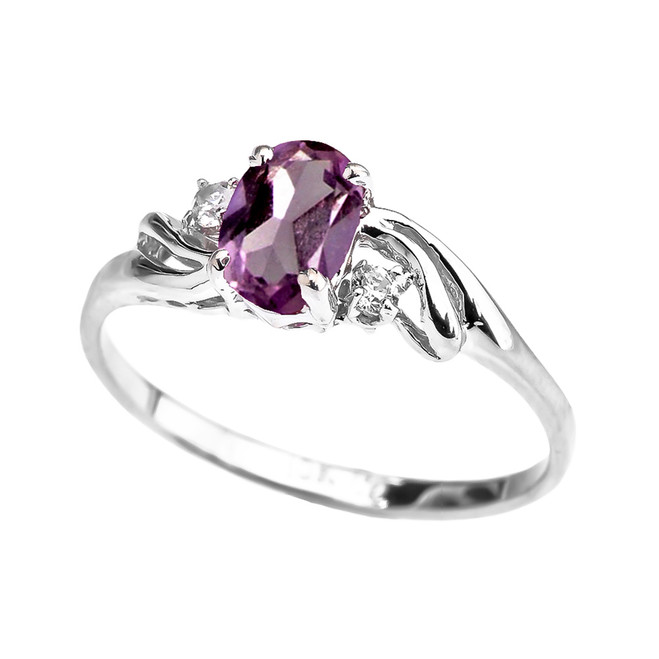 White Gold CZ Alexandrite Oval Solitaire Proposal Ring