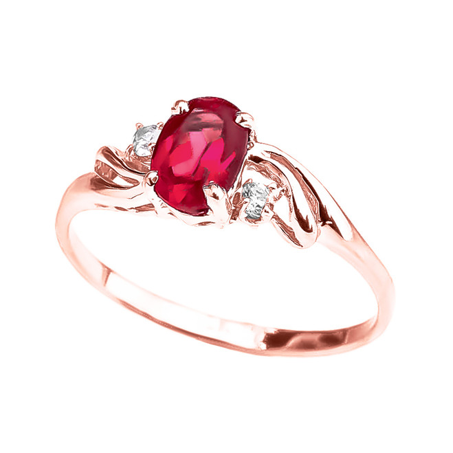 Rose Gold (LCR) Ruby Oval Solitaire Proposal Ring