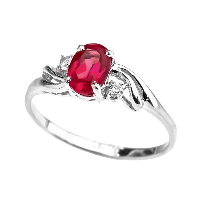 White Gold (LCR) Ruby Oval Solitaire Proposal Ring
