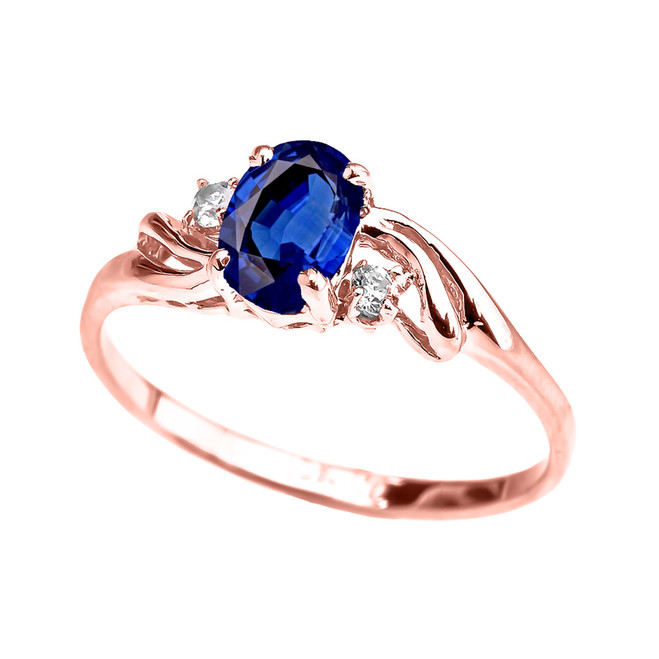 Rose Gold CZ Sapphire Oval Solitaire Proposal Ring