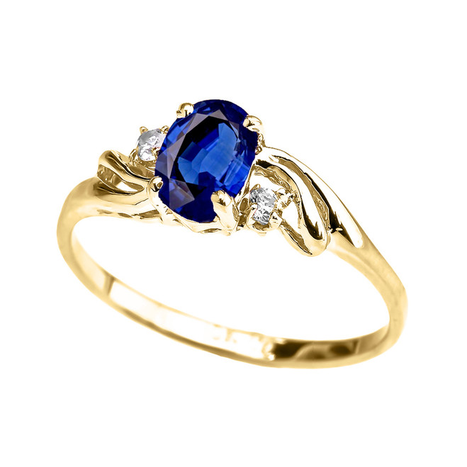 Yellow Gold CZ Sapphire Oval Solitaire Proposal Ring