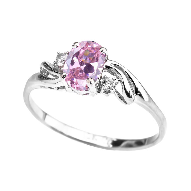 White Gold CZ Pink Oval Solitaire Proposal Ring