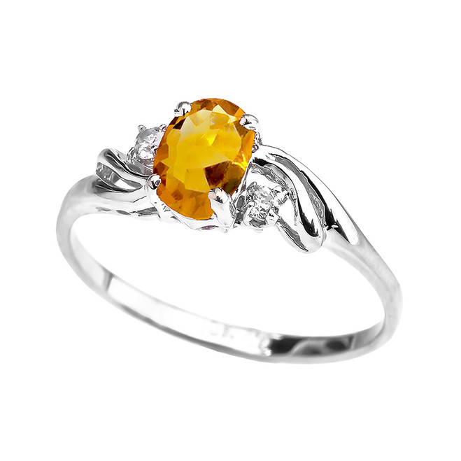 White Gold CZ Citrine Oval Solitaire Proposal Ring