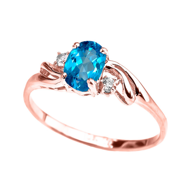 Rose Gold CZ Blue Topaz Oval Solitaire Proposal Ring