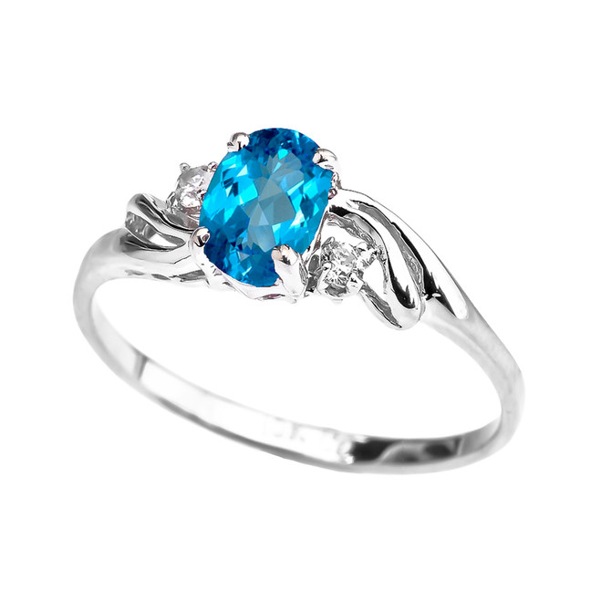 White Gold CZ Blue Topaz Oval Solitaire Proposal Ring