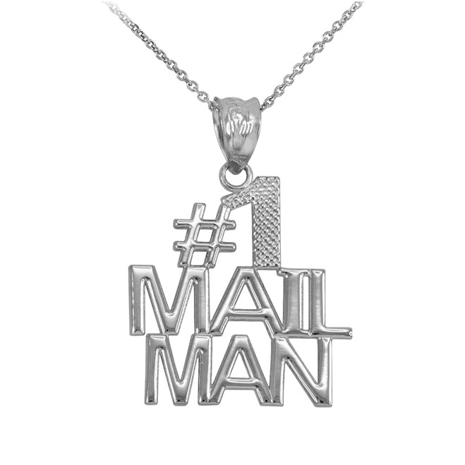 White Gold Number 1 Mailman Pendant Necklace