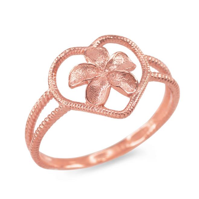Rose Gold Plumeria Heart Ring