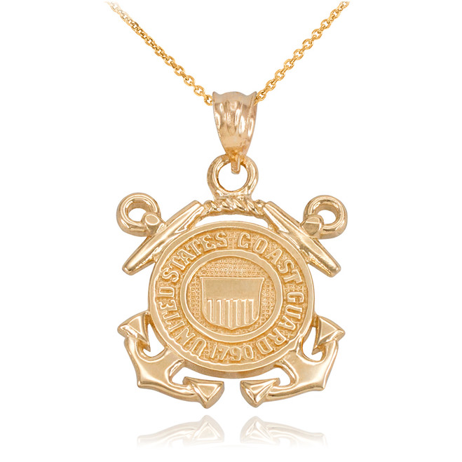 Yellow Gold U.S Coast Guard Pendant Necklace