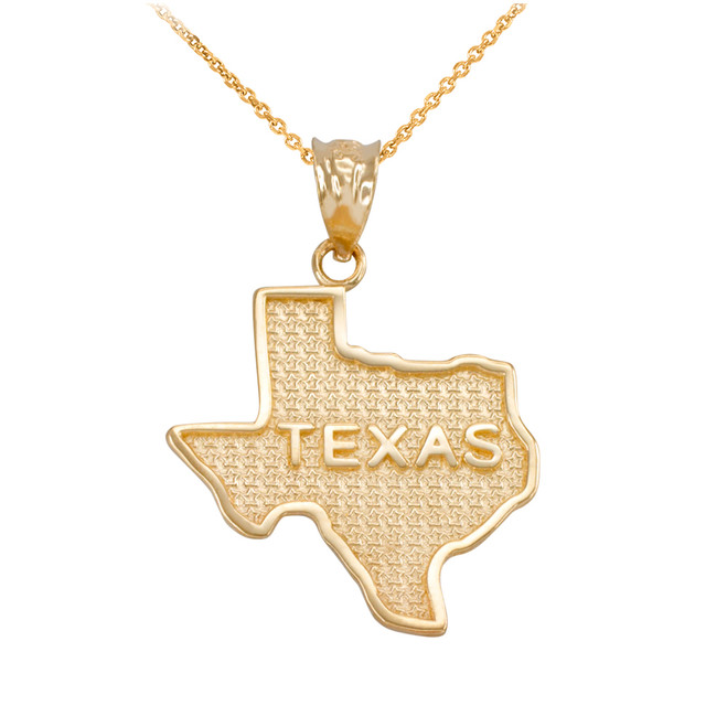 Yellow Gold Texas State Map Pendant
