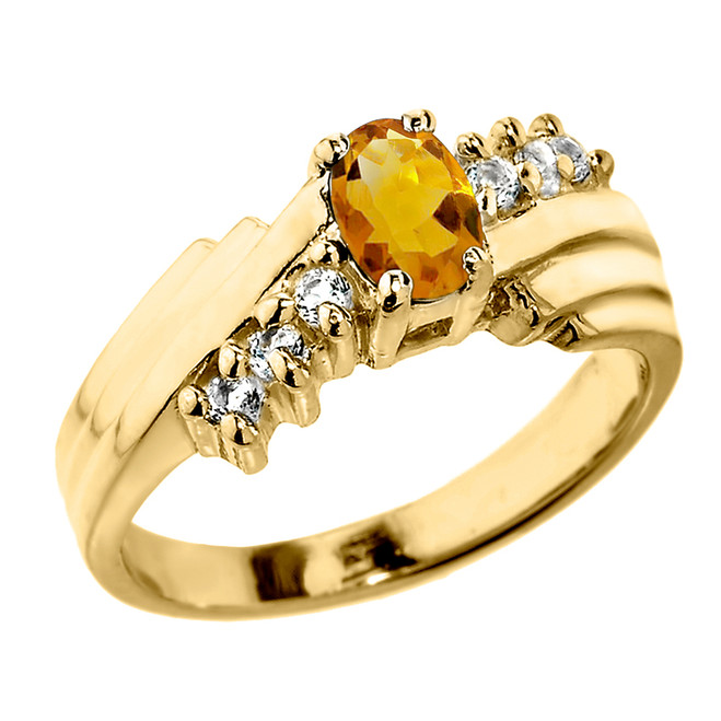 Dazzling Yellow Gold Diamond and Citrine Proposal Ring