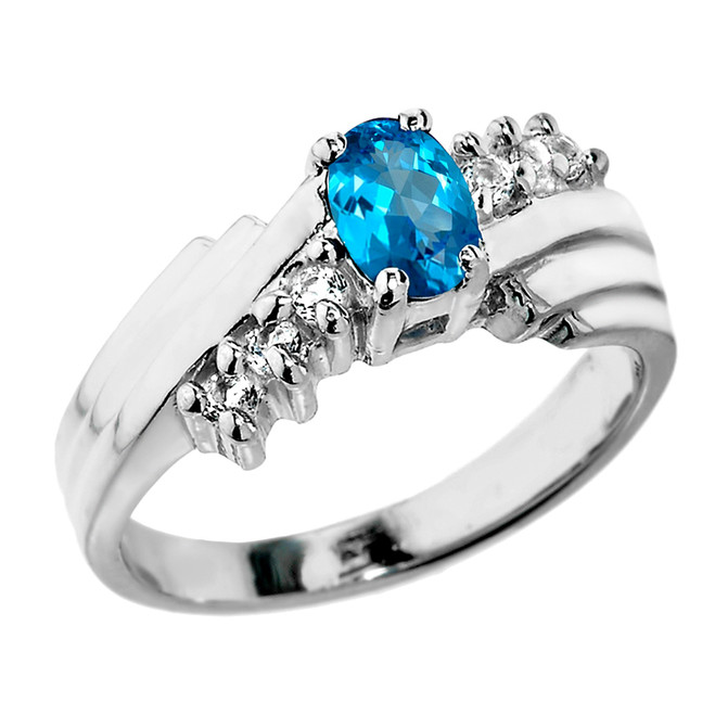 Dazzling White Gold Diamond and Blue Topaz Proposal Ring