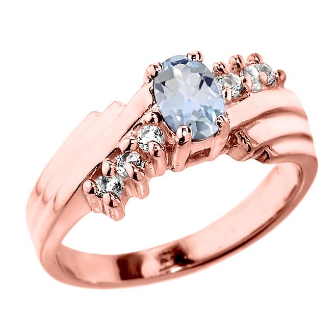 Dazzling Rose Gold Diamond and Aquamarine Proposal Ring