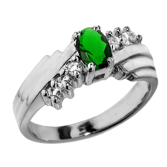 Sterling Silver White Topaz and Emerald Ladies Ring