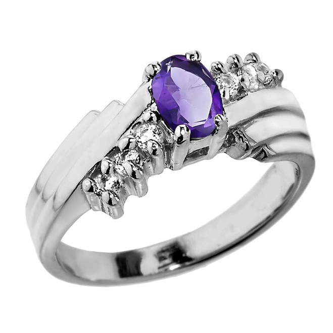 Sterling Silver White Topaz and Amethyst Ladies Ring