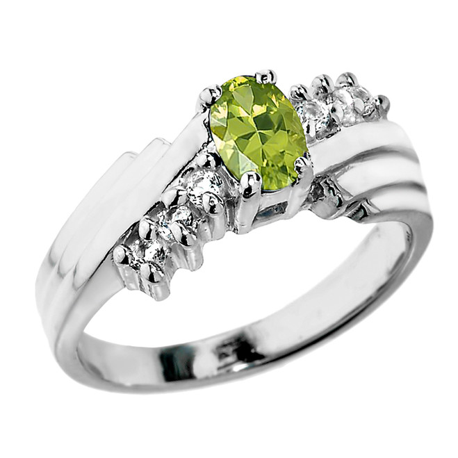Sterling Silver White Topaz and Peridot Ladies Ring